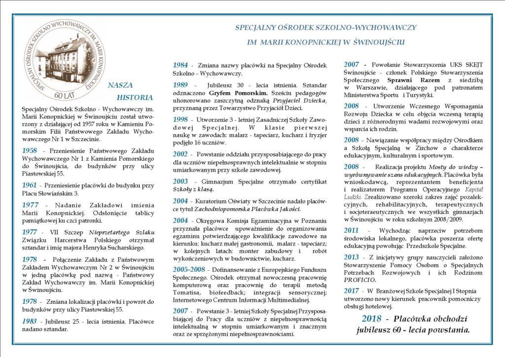 grafika - folder z z historią SOSW w Świnoujściu.