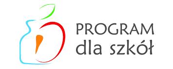 Logo w kształcie zarysu jabłka z marchewką. Napis Program dla szkół.
